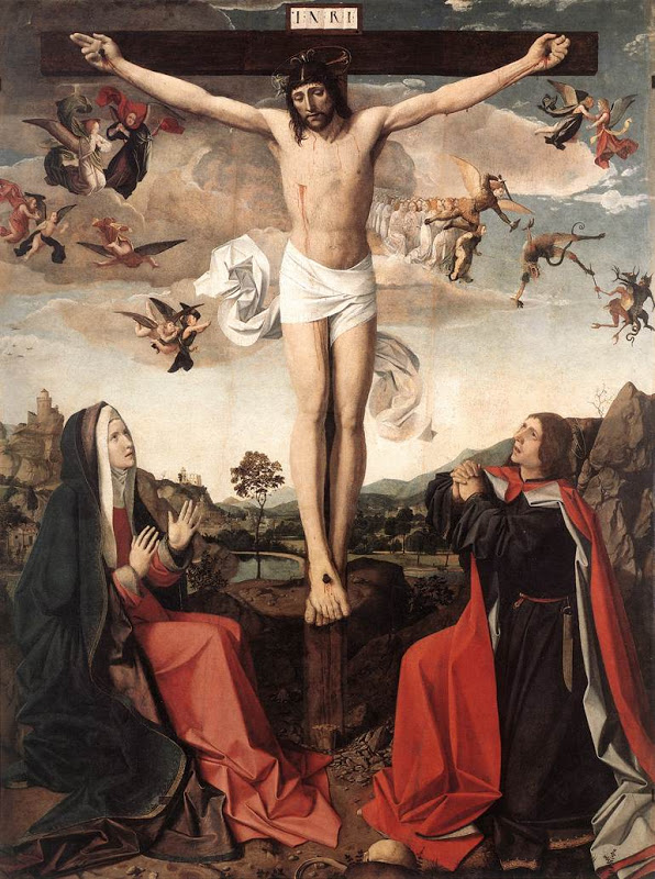 Josse Lieferinxe (1493-1508) Crucifixion: Oil on panel