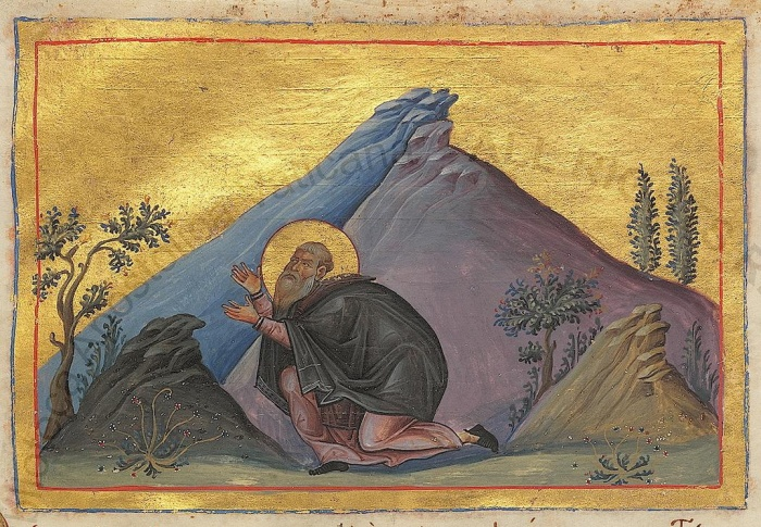 St_Hilarion_the_Great_(Menologion_of_Basil_II)